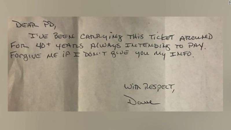Surat ini menyertai tiket parkir dan pembayaran yang dikirim ke Polisi Minersville